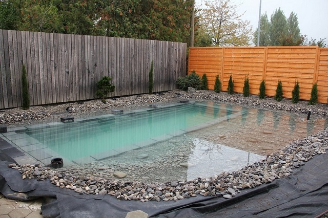 This swiss man and son build epic diy natural swimming for Diy patio pond